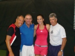 Nick Bollettieri with Jelena Jankovic, her coach, and Pat Etcheberry