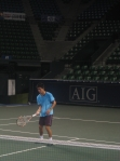Kei practices on Center Court as he prepares for the AIG Open
