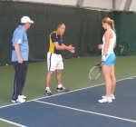 Nick Bollettieri working with Sabine Lisicki in December 2008