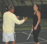 Jelena Jankovic and Nick Bollettieri at the Nick Bollettieri Tennis Academy