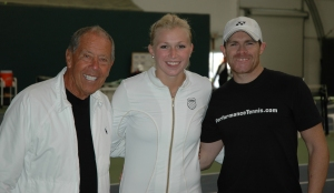 Nick Bollettieri with Michaella Krajicek and her coach Allistair McCaw