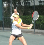 Daniela Hantuchova trainining at the Nick Bollettieri Tennis Academy as Nick Bollettieri watches