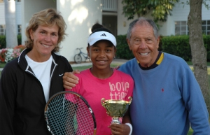 Victoria Duval with Betsy McCormack and Nick Bollettieri