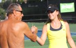 Nick Bollettieri and Michelle Larcher de Brito at the IMG Bollettieri Tennis Academy