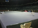 Practicing with Pete Sampras in an empty Cotai Arena the day before the event