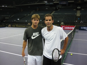Pete Sampras and Ryan Harrison after our practice session the day before the big Venetian Macao Tennis Showdown 2009