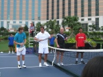 Ryan Harrison failing miserably at trying to spin by racquet at the photo shoot