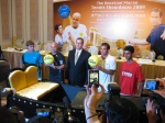 The big doubles draw at the official press conference. Team Agassi-Harrison on the left