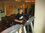 Going for my morning jog in the hotel gym to work off some jet lag and loosen up before practice