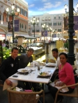 Enjoying a quick lunch in St. Mark's Square with Ben, Yuki and Yuki's mother