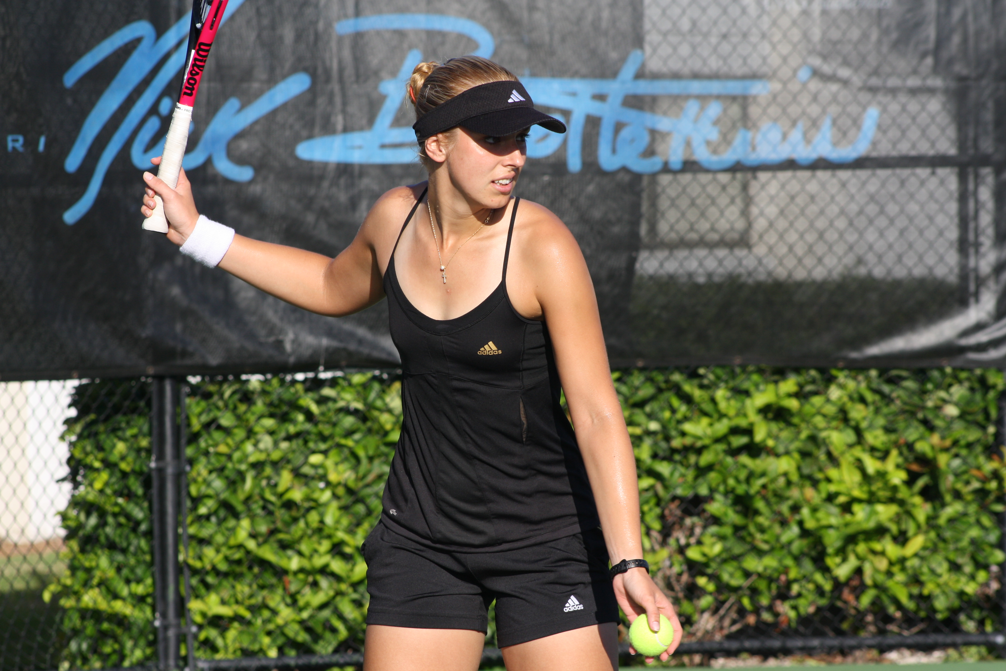 Sabine Lisicki practicing at the IMG Bollettieri Tennis Academy