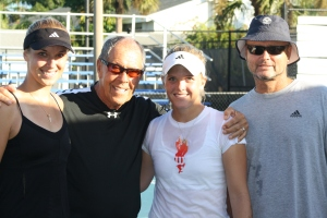 Nick Bollettieri with Sabine Lisicki and Melanie Oudin