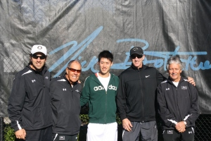 L to R: IMG Bollettieri elite coach Dante Bottini, Nick Bollettieri, Kei Nishikori, Brad Gilbert, IMG Bollettieri Director Chip Brooks